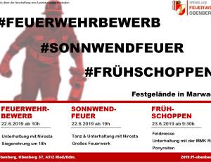 Feuerwehrbewerb – Sonnwendfeuer – Frühschoppen 2019