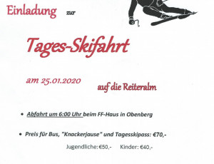 Einladung Tages-Skifahrt – 2020